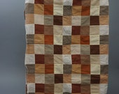 Unfinished Quilt Top Ready to Quilt Throw Lap Browns/Tans  Amazing Quality 70 X 41 inches