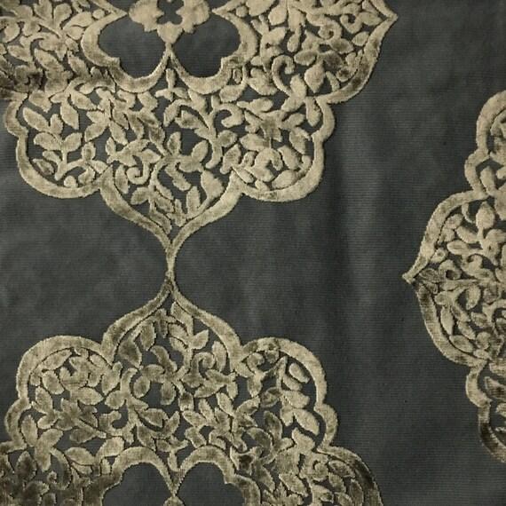 Upholstery Fabric Mayfair Latte Burnout Velvet Home