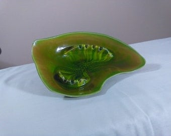 Beautiful green California pottery ashtray