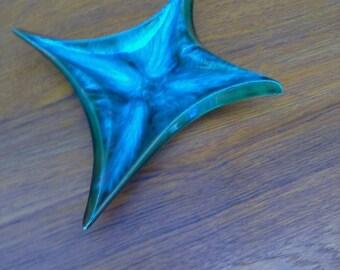 Mid century blue glazed ceramic pottery ashtray/tray