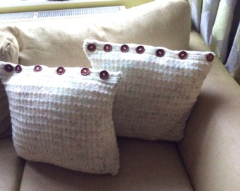 Pair of Hand knitted cushions
