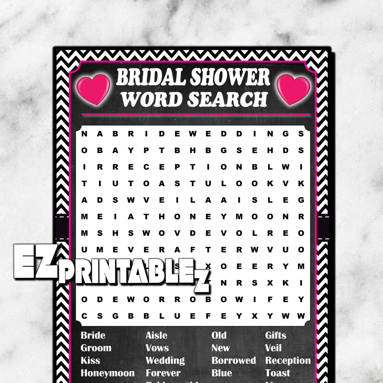 Wedding Word Search: Printable Bridal Shower Games Word Search Game Printable