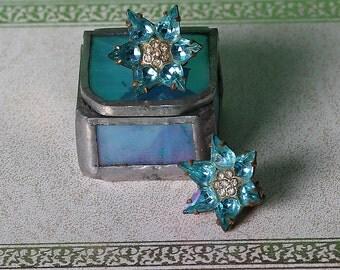 Vintage Vivid Blue clip earrings