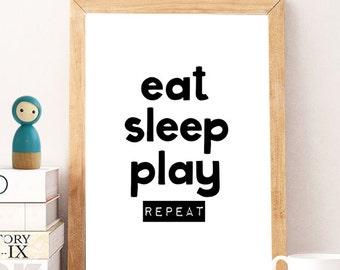 eat sleep play, nursery decor, nursery printable quote, printable wall art, kids poster, digital print, star wall print, kids prints, PRINT