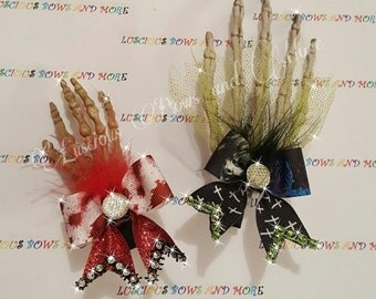 Excorcist Skeleton Hand Hair Bow, Excorcist Hair Bow, Skeleton Hand Bow, Skeleton Hand, Excorcist, Skeleton Hair Clip