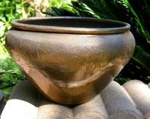 Beautiful Vintage Sarna Brass India Hand Carved Floral Etched Planter/Bowl/Vase