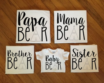SALE! Family Bear Shirts, Family Matching Shirts, Matching Family Bear TShirt Tops
