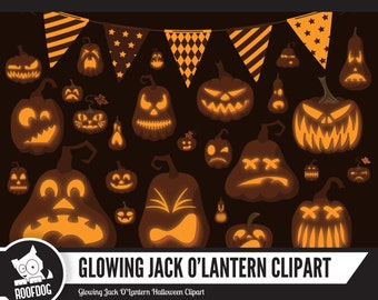 Jack O Lantern clipart |  Glowing Jack O Lantern | Halloween pumpkin clip art | Jack O Lantern faces | halloween digital | pumpkin vector