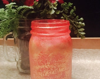 Vanilla Scented Soy Wax Candle in Pink/Golden Glitter Mason Jar (Pint Size)