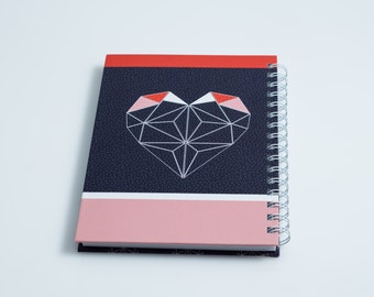 Geometric heart notebook, A5 notebook , Geometric design, red and blue, gift under 100,designed notebook, FSC certified, back to school