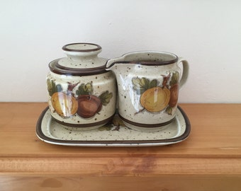 Vintage German Winterling Karina Pattern Sugar Pot and Creamer with Tray from 1970's