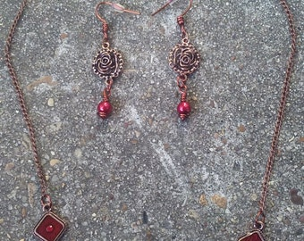 Copper Rose Necklace and Earring Set