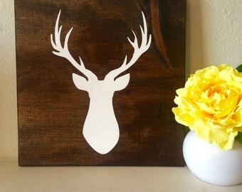 Deer head silhouette art / antler art / wood sign / wooden sign / rustic wood sign / deer art
