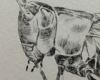 """Print """"Cricket"""" etching, drypoint limited edition print."""