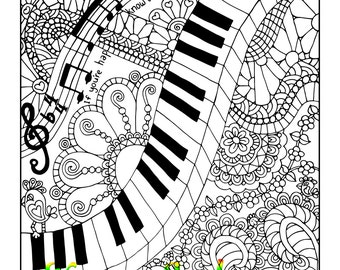 5 pages, Doodle Pack #2, 5 Adult Coloring Book Pages, Printable Instant Download