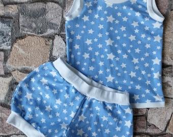 Summer set, short pants + shirt, blue and White Star kind. No. 1005