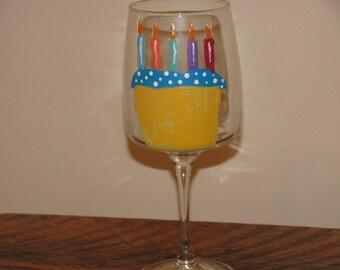 Hand Painted Happy Birthday with cake wine glass