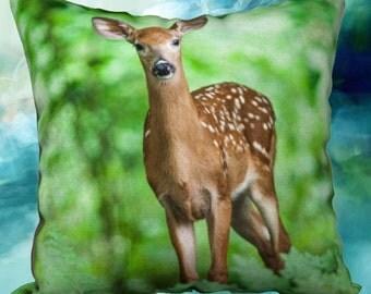 18 x 18 Velveteen Deer Pillow Cover