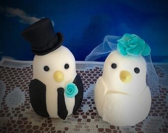 Custom Made Gumpaste Fondant Wedding Cake Topper Mr Mrs Birds