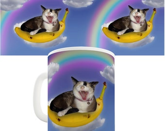 Cat Banana Rainbow Ceramic Novelty Mug