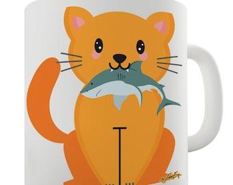 Cartoon Cat Shark Ceramic Tea Mug