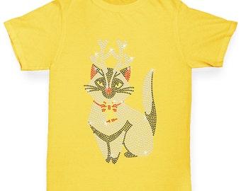 Girl's Christmas Kitty Rhinestone Diamante T-Shirt