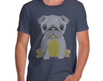 Men's Baby Pug Rhinestone Diamante T-Shirt