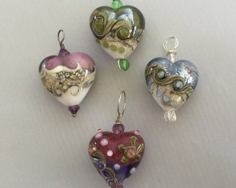 Lampwork glass heart pendant