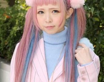 Pompom fury hair ties  set : 6 pieces kawaii decora kei,  fairy kei