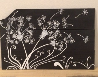 Dandelions Repurposed Wood Wall Art