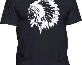 Men's Indian Chief T-Shirt Native American Black Hawk Graphic Tee
