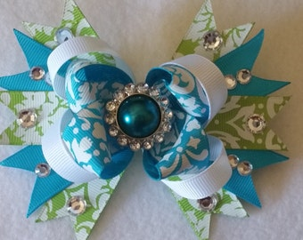 Blue and Green Stacked Boutique Hair Bow