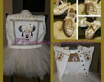 Gold and white Minnie Mouse Tutu Set