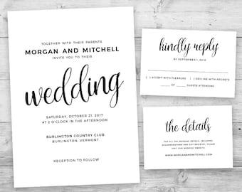 Printable wedding invitation set, Printable wedding invitation suite, Contemporary wedding invitation