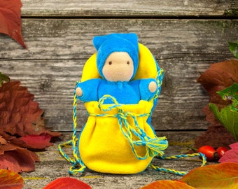 Waldorf doll, doll in bag,  natural toy,  waldorf toy, steiner doll,  small doll,pocket doll, baby girl gift,