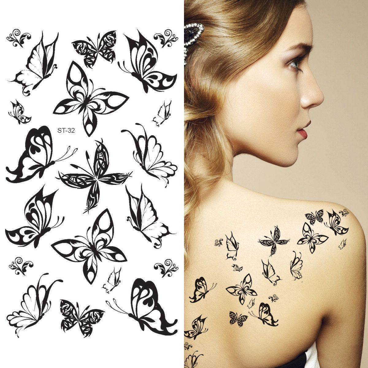 Supperb® Temporary Tattoos Small Black Butterflies