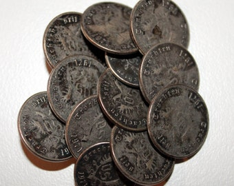 ON SALE! -20% OFF!!! 12 Metal Buttons, Buttons, Antique Buttons, Vintage Metal Buttons, German Buttons, 1971s