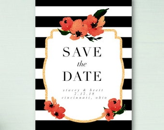 Floral and Stripe Save The Date
