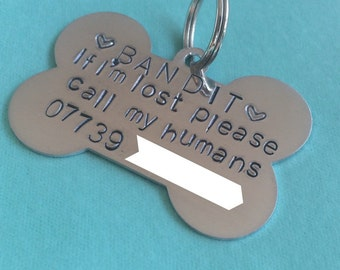 Personalised handmade dog ID tag handstamped please call my humans