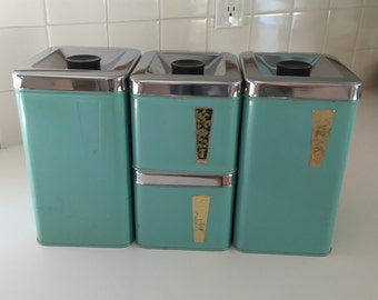 Vintage 60s turquoise kitchen canisters