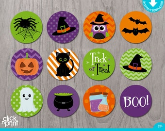 Halloween Print Yourself Candy Labels for Hershey Kisses or Stickers, Halloween Decoration, Halloween Printables