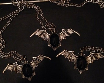 Bat black cameo necklace