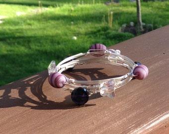 Purple-Bling Glass Bead Bangle Bracelets
