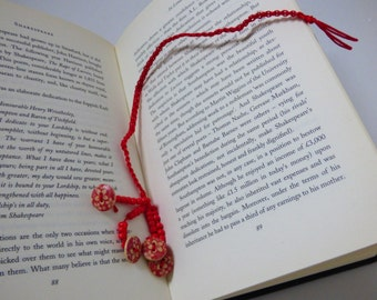 Red Macrame Book Thong