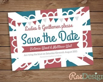 Printable British Union Jack Save the Date