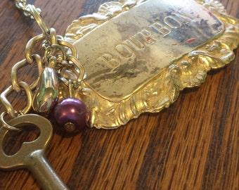 vintage liquor bottle tag necklace