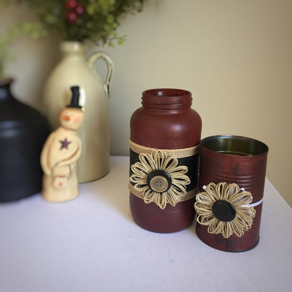 Country Home Decor/ 2pc Vase Set/Hemp Flower/Primitive Red/Hand Painted/Vintage Look Decor/Recycled Container/Burlap/Red and Black/Buttons