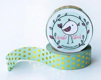 Mint Green Washi Tape - Gold Foil Washi Tape, Polka Dots, 1 roll, 15mm x 10m