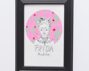 Frida Kahlo Original Art W/Frame