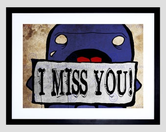 I Miss You Print - Painting Trowell I Miss You Cute Picture Art Print Poster FEJT013B